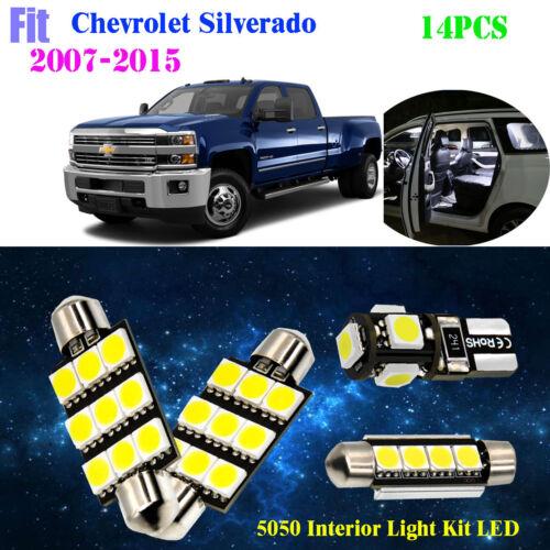 14Pc 5050 Xenon White 6K Interior Light Kit LED Fit For 2007-2015 Chev Silverado
