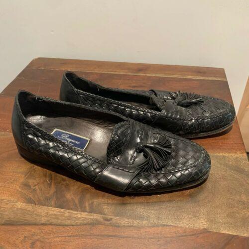 Bragano Leather Woven Tassel Loafers Black Men's 1