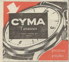 W5881 Orologio CYMA Tavannes - Pubblicità 1949 - Advertising