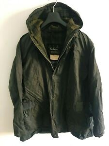 Mens-Barbour-Durham-Hooded-wax-jacket-Blue-coat-44in-size-L-XL-Lightweight