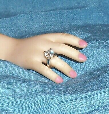 "PEARL goldtone DOLL RING Jewelry for Fashion dolls Modeled by modern 21/""  CISSY"