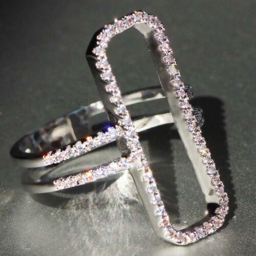 925 silver filled blanc Saphir Pierre de Naissance Fiançailles Mariage Band Ring Gift
