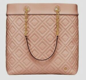 ae644a1bbac5 Details about NWT TORY BURCH FLEMING TOTE Quilted Leather Shoulder Bag In  NEW MINK  558