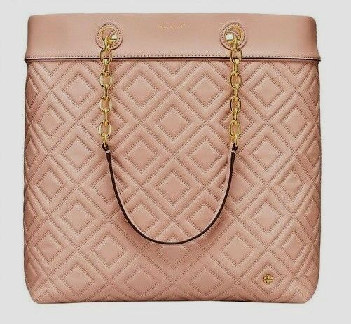 249bfc1ceacdd Auth Tory Burch Fleming Quilted Leather Tote Bag Mink for sale online
