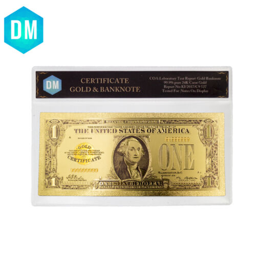 American 1928 Year One Dollar Gold Banknote Currency Bill Note with COA Sleeve