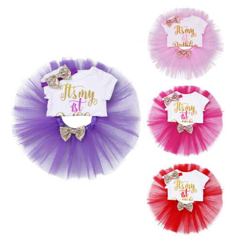Baby Girls First Birthday Outfit 3PCS Romper+Tutu Skirt Headband Party Set