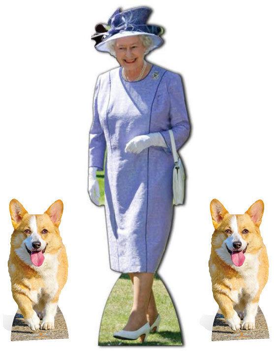 Queen Elizabeth II Lilac Dress with 2 Royal Corgis LifeGröße LifeGröße LifeGröße Cardboard Cutout Set 228e09