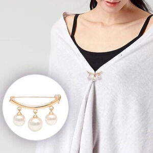 Fashion Pearl Fixed Strap Charm Safety Pin Brooch Sweater Cardigan Clip Chain