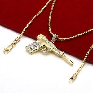 "Men/'s 14k Gold Plated High Fashion 2 pcs Cross /& Ankh 3mm 27/"" /& 24/"" Cuban Chain"