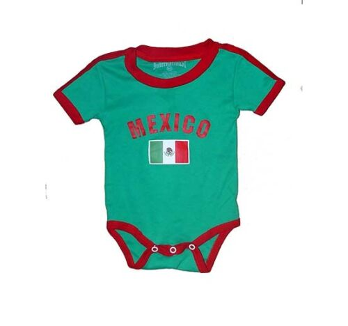 Mexico Baby Bodysuit 100% Cotton All Season Soccer Jersey Flag T-shirt