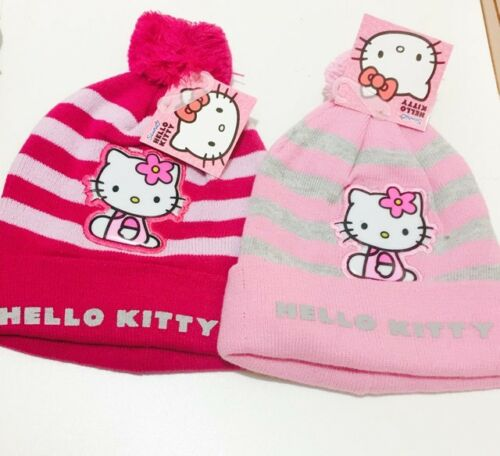 HELLO KITTY PINK GIRLS WINTER HAT BEANIE WITH POM POM BALL