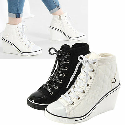 Flats Heels Wedge Platform Trainers High Sneakers Boots Ankles Lace Mesh Gagholy