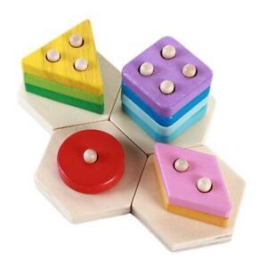 Kids-Wooden-Educatinal-Toy-Train-Puzzle-Stacking-Blocks-Color-Shape-Sorter-JJ