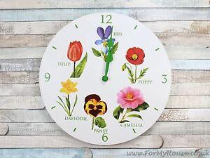 Flowers-white-wall-clock-30cm-LP22566