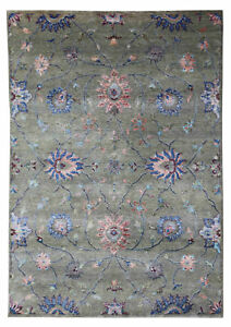 New-Oushak-Pattern-5-039-7-034-x-7-039-10-034-Hand-Knotted-Devlin-Persian-Silk-amp-Wool-Area-Rug