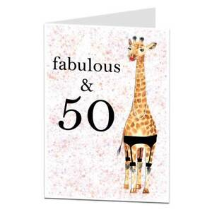 Image Is Loading 50th Birthday Card Fabulous Amp 50 For Women