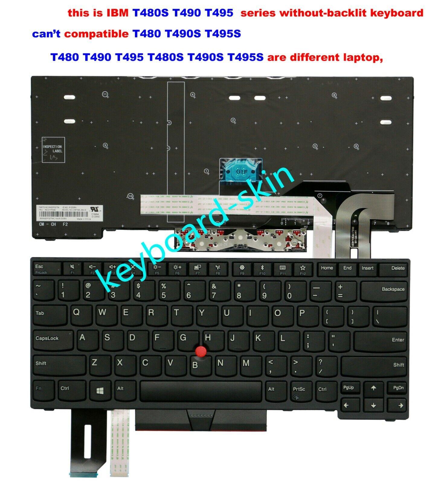 For lenovo IBM Thinkpad T490 T495 (isn't for T490s T495s) keyboard Non-backlit