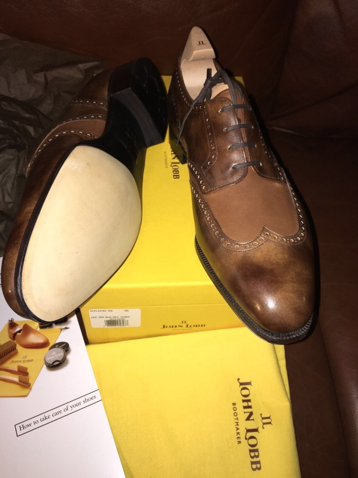 New John Lobb The PLAZA Brown Museum Leather Shoes Reverse Suede E 12.5