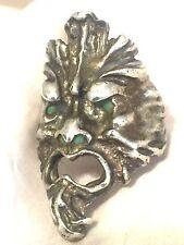 Vintage Sterling Silver Gargoyle Face Wind Creature Mask Monster Size 7.25 15.9g