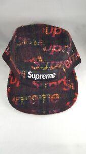 458c43d4f Supreme Harris Tweed Camp Cap Red Plaid Hat FW18 One Size NWT | eBay