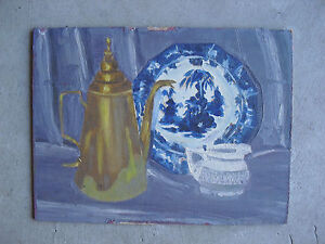 Vintage-Alfred-Lang-Oil-Painting-Still-Life-of-Teapot-Plate-and-Creamer