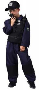 Polizist Polizei SWAT Overall Weste Police FBI CIA Kostüm Uniform Kappe Cop Helm