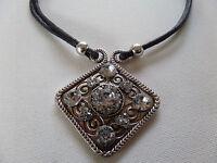 Stunning Statement Large Gothic Diamond Shaped Necklace Black Cord Boxed
