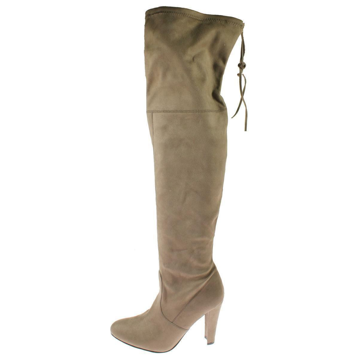 Steve Madden Gorgeous 8 Taupe Beige Suede Fabric Over Knee Knee Knee Boots Block Heel NEW 86017a