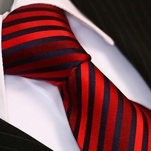 Krawatte Krawatten Schlips Binder de Luxe Tie cravate 120 Rot Schwarz