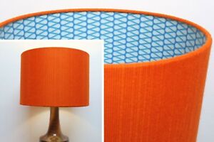 Retro-Lampshade-Original-60s-70s-Fabric-30cm-Drum-Orange-Brown-Blue-Geometric