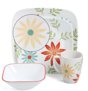 Image is loading Bright-Flowers-Dinnerware-Set-4-Kitchen-Dining-Dishes-  sc 1 st  eBay & Bright Flowers Dinnerware Set 4 Kitchen Dining Dishes Plates Bowls ...