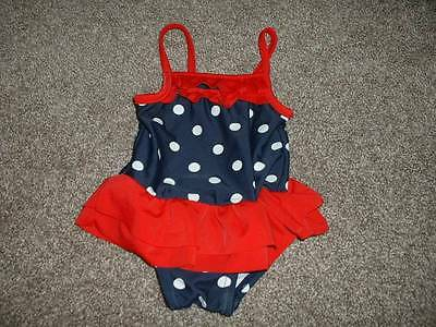 Carter's Baby Girls 4th of July Ruffle Polka Dot Swimsuit Size 3 Months 3M 0-3 m