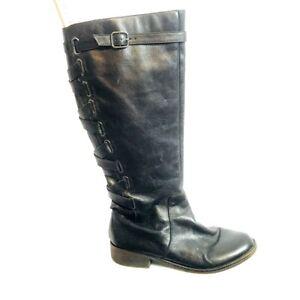 Yellowbox-Womens-9M-Knee-high-Black-Leather-Boots-Lattice-Detail-Zipper-Lo-Heel