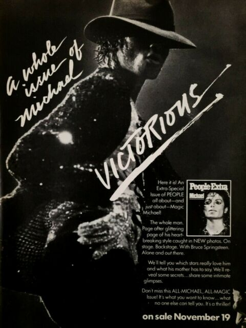 1984 Michael Jackson Victorious Sequin Jacket Glove People Extra Print Ad