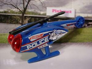 2015-POLICE-PURSUIT-Design-Ex-KILLER-COPTER-Blue-Red-Helicopter-LOOSE-Hot-Wheels