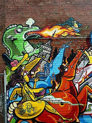 ART PRINT POSTER PHOTO GRAFFITI MURAL STREET GODZILLA FIRE NOFL0219