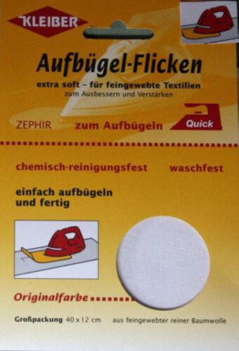 Kleiber Zephir Aufbügel Flicken 40 x12 cm Baumwolle weiß