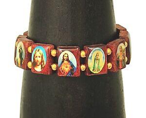 Handmade-Catholic-Jesus-and-Mary-Rosewood-Stretchy-Bracelet