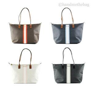 Michael Kors Travel Large Leather Stripe Top Zip Tote Handbag Shoulder Bag