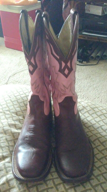 Biltrite Damenschuhe 6 1/2 Pink & Braun Leder Used Western Riding Stiefel Barely Used Leder 5820ef