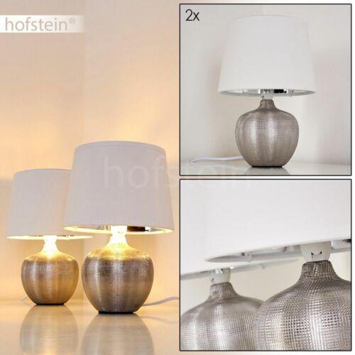 2er Set Keramik Schlaf Wohn Zimmer Leuchten Stoff Nacht Tisch Lese Lampen silber
