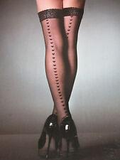 Top in Pizzo Velato Nero Hold Up calze con cuciture CUORE-Ann Summers Taglia Small