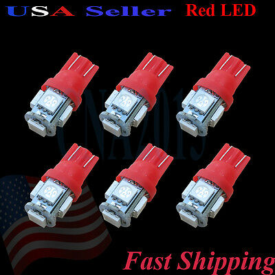 6 pcs - 5050 Chip Red LED Car Lights Lamp Bulb - Dome Map Trunk License Plate