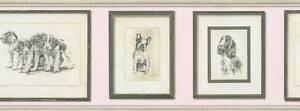 Wallpaper-Border-Picture-Frame-Dogs-Puppies-on-Pink-Bull-Dog-Hounds-Spaniels