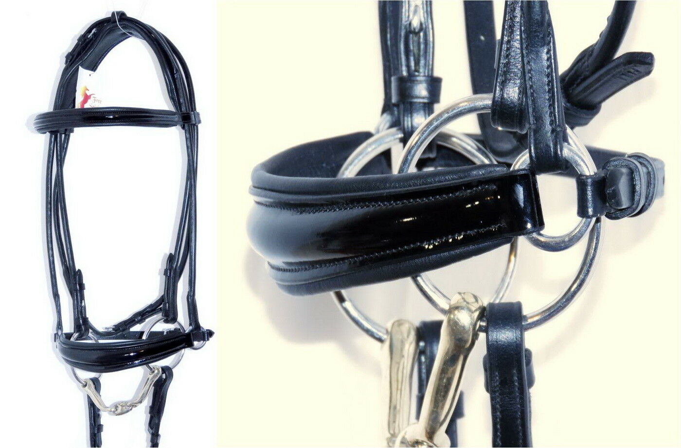 FSS ROLLED PATENT Comfort Padded Poll Drop Drop Poll Dropped Hanoverian Noseband Bridle 08becf