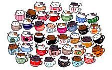 Cute kawaii kitsch coffee cup cats stickers