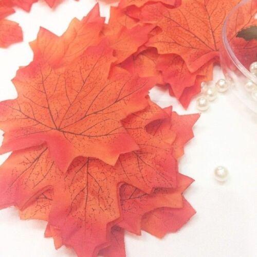 100pcs Fall Silk Leaves Wedding Favor Pretty Maple Leaf Decor Patio Plant Props