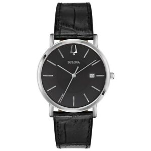 Bulova-Classic-Men-039-s-Quartz-Silver-Tone-Black-Leather-Band-37mm-Watch-96B283