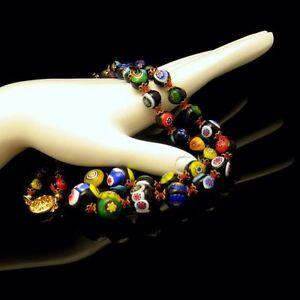 Vintage-Venetian-Millefiori-Necklace-Black-Multi-Art-Glass-Cane-Beads-Knotted