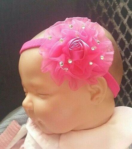 BABY GIRL//REBORN HEADBAND 3 INCH SHEER ROSE ROSETTE BLING DIAMONTE MANY COLOURS